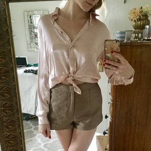 Light pink satin blouse